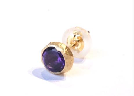 Amethyst Rough Collet Pierced Earring