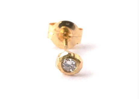 Rough Collet Melee Diamond Pierced Earring