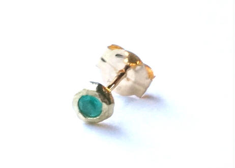Paraiba Tourmaline Rough Collet Melee Pireced Earring