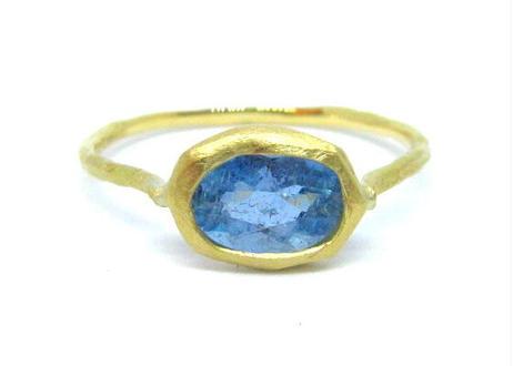 Santamaria Aquamarine Rough Collet Ring