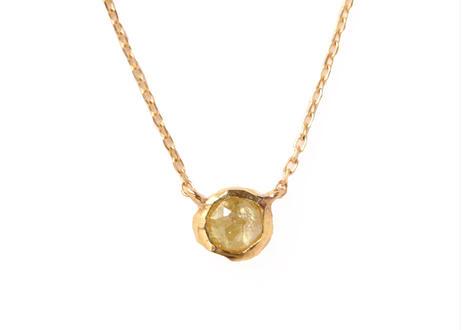 Natural Diamond Yellow Rough Collet Mini Necklace