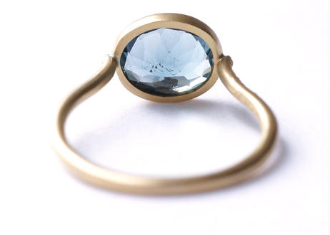 Blue Tourmaline Oval Diamond Arm Ring
