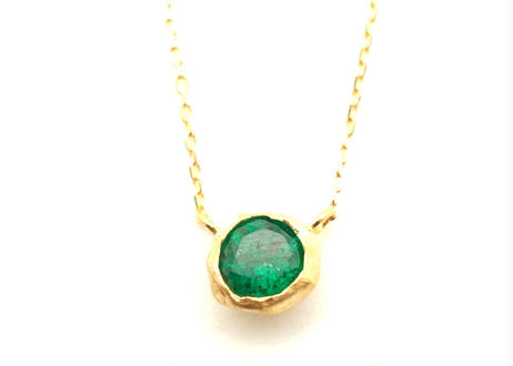 Emerald Rough Collet Necklace