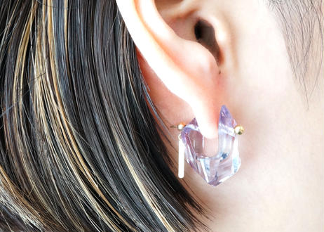 Diamond quartz Rock Pierced Earring
