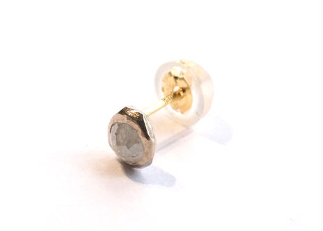 Natural Diamond Rough Collet Mini Pierced Earring