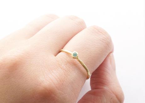 Paraiba Tourmaline Rough Collet Melee Ring