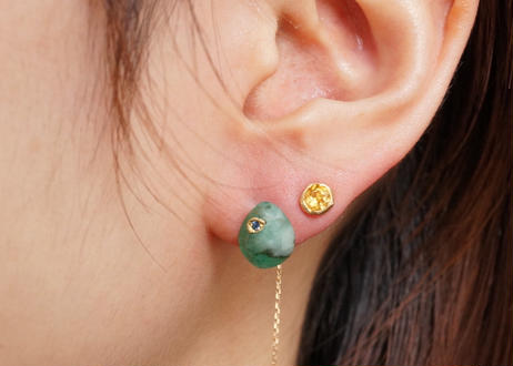 Tourmaline Rough Collet Pierced Earring