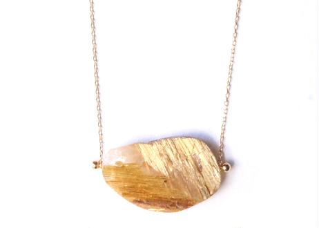 Gold Rutiled Quartz Rock Neclace