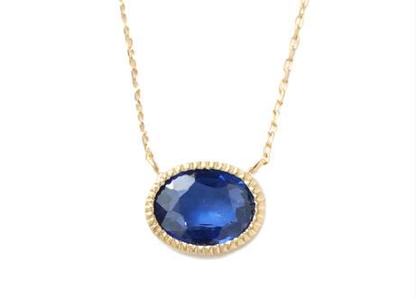 Sapphire milgrain  Necklace