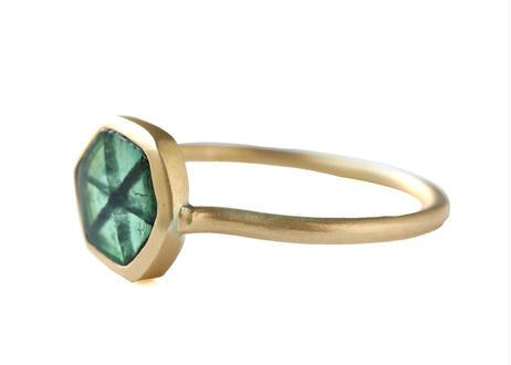 Trapiche  Emerald Hexagon  Ring