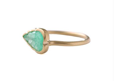 Emerald Leaf Partsdia Ring