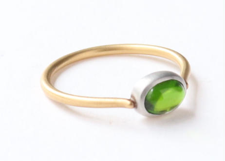 Green Garnet Cabochon Ring
