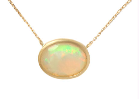 Opal Facetcut Oval  Necklace
