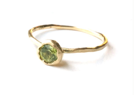 Peridot Rough Collet Ring