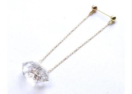 Diamond quatz Pipe Pierced Earring