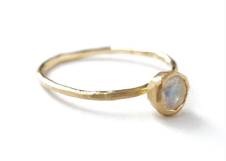 Rainbow moonstone  Rough Collet Ring