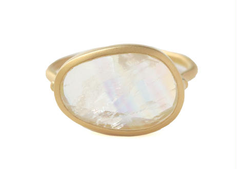 Rainbow moonstone Unshaped Ring