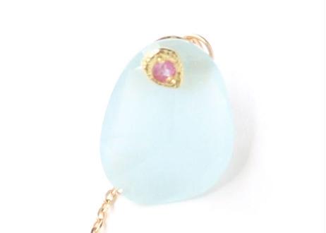 Aquamarine Flat Pierced Earring