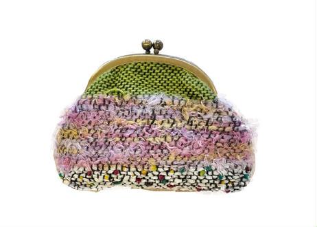 空想庭園手織りのがま口ポーチ
