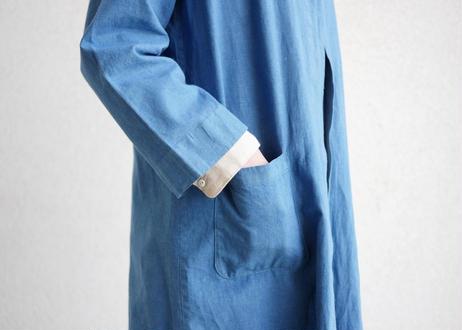 エシカルヘンプひとつボタンコート 正藍染め藍色
