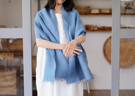 エシカルヘンプ手織りストール 正藍染め藍色 47cm幅