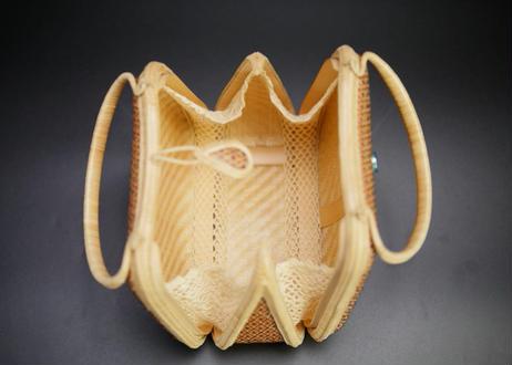 プラニー工房作 竹細工林檎形ハンドバッグ ピグンシリーズ