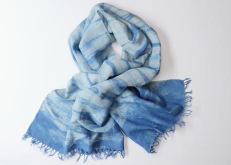 エシカルヘンプ手織りストール 正藍籠染め縞 藍色b