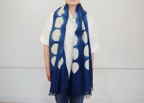 エシカルヘンプ手織りストール 正藍板締め絞り染め ドット柄 71cm幅