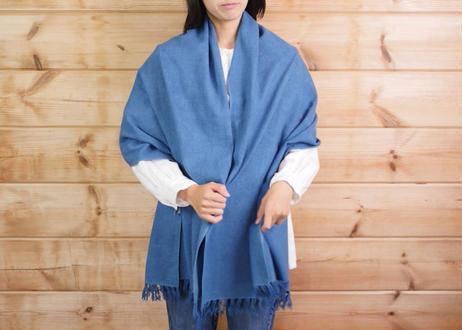 エシカルヘンプ平織りストール 正藍染め藍色 62cm幅  厚手