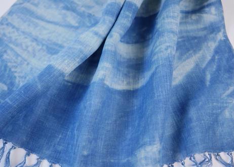 エシカルヘンプ手織りストール 正藍籠染め縞 藍色c