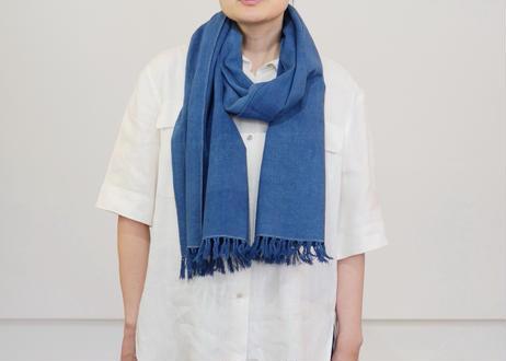 エシカルヘンプ平織りストール 正藍染め藍色 40cm幅  厚手