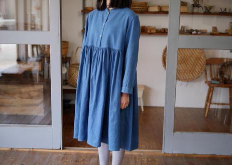 エシカルヘンプスタンドカラードレス 正藍染め藍色
