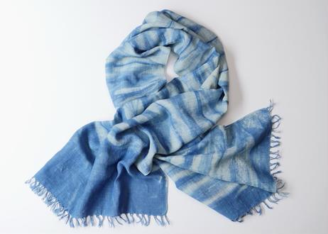 エシカルヘンプ手織りストール 正藍籠染め縞 藍色e