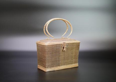【特選】籐組角形小花紋ハンドバッグ ブラック タイ中部