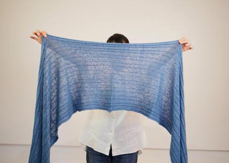 エシカルヘンプニット編みロングストール 正藍染め藍色