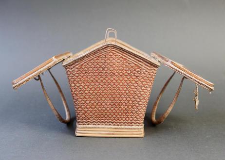 籐組手付籠 ブラウン  タイ中部