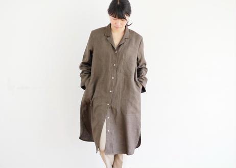 エシカルヘンプオープンカラーシャツワンピース カレン族黒檀染め 茶色