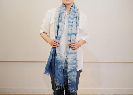 エシカルヘンプ手織りストール 正藍籠染め縞 藍色d