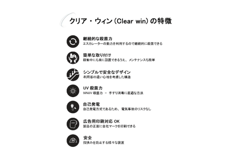 【ClearWin ークリアウィンー】電源不要!エスカレーター手すり用紫外線殺菌器【ForBusiness】
