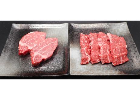 高原黒牛ヒレステーキ・焼肉セット500g【ステーキ240g(約120g×2枚)、焼肉260g】