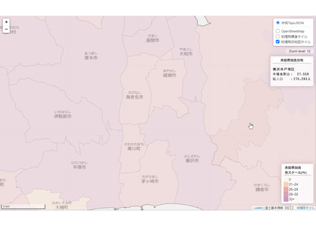 神奈川県:PowerBI&ローカルHTML向けH31年行政区域TopoJSON