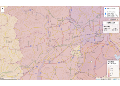 岡山県:PowerBI&ローカルHTML向けH31年行政区域TopoJSON