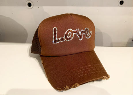 「Love」オリジナルダメージメッシュCAP  ネイビー /ブラウン