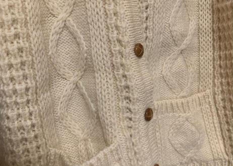 アラン ニット セーター カーディガン フィッシャーマン ウール 手編み ハンドメイド ざっくり きなり アイルランド vintage ヴィンテージ ビンテージ 古着/club723 (N107)