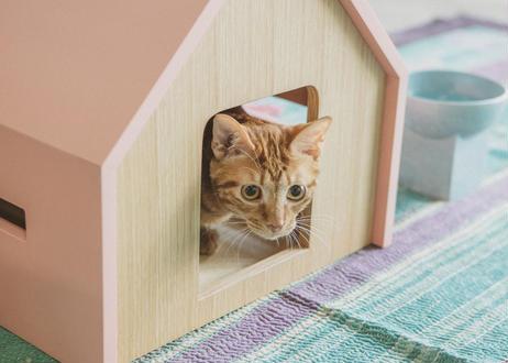HÜTTE / cat house [ピンク×ウォールナット]