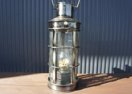 Vintage Metal Framed Glass Oil Lantern