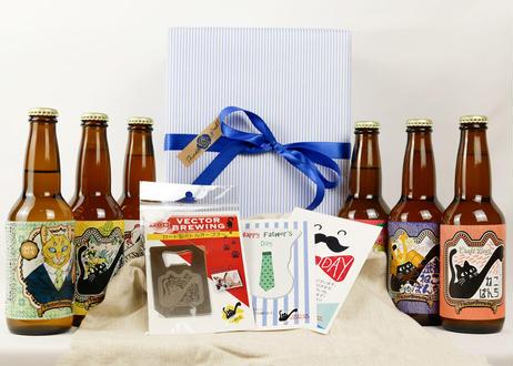 """限定"""" 父の日セット""""~HappyFathersDay""""~(6本)【内容:ねこラベルビール全6種】"""
