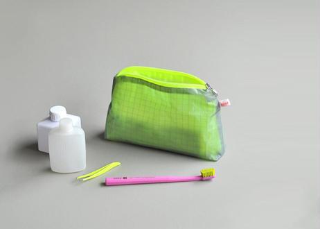 Magic ポーチ with zipper #Gray Neon Yellow