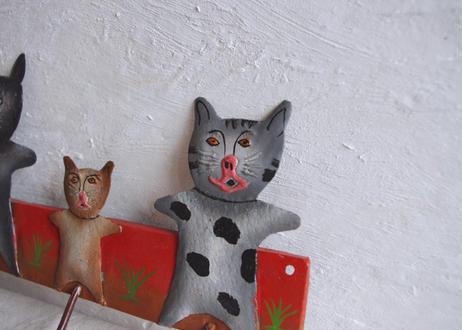 アフリカ|ブリキ3匹の猫フック