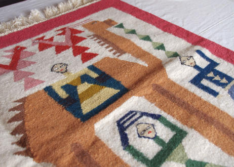 チュニジア|平織りキリム/ラクダと人■送料無料